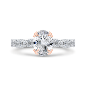 CAO0534EH-37WP-1.25 Bridal Jewelry Carizza White Gold,Rose Gold Oval Diamond Engagement Rings