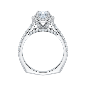 14K White Gold Princess Diamond Halo Engagement Ring (Semi Mount)