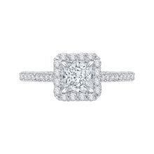 Load image into Gallery viewer, CAP0034E-37W Bridal Jewelry Carizza White Gold Princess Cut Diamond Halo Engagement Rings