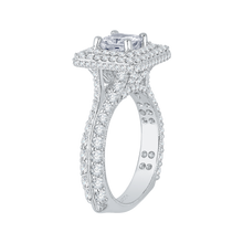 Load image into Gallery viewer, 14K White Gold Princess Cut Diamond Double Halo Engagement Ring (Semi Mount)