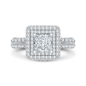 CAP0036E-37W Bridal Jewelry Carizza White Gold Princess Cut Diamond Double Halo Engagement Rings