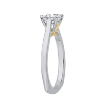 Load image into Gallery viewer, 14K Two Tone Gold Princess Cut Diamond Solitaire Engagement Ring (Semi Mount)
