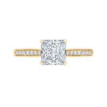 Load image into Gallery viewer, CAP0040E-37 Bridal Jewelry Carizza Yellow Gold Princess Cut Diamond Solitaire Engagement Rings