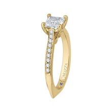 Load image into Gallery viewer, 14K Yellow Gold Princess Cut Diamond Solitaire with Accents Engagement Ring (Semi Mount)