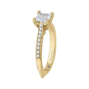14K Yellow Gold Princess Cut Diamond Solitaire with Accents Engagement Ring (Semi Mount)