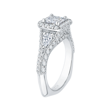 Load image into Gallery viewer, 14K White Gold Princess Diamond Halo Engagement Ring with Split Shank (Semi Mount)