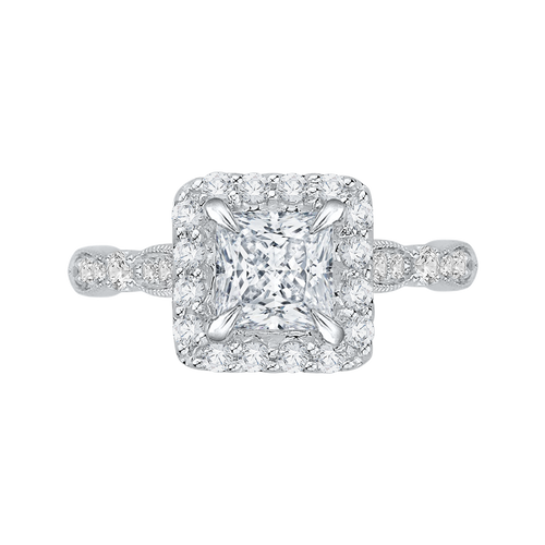 CAP0042E-37W Bridal Jewelry Carizza White Gold Vintage Princess Cut Diamond Halo Engagement Rings
