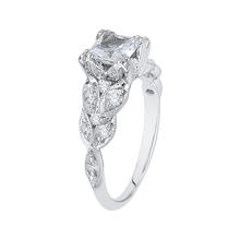 Load image into Gallery viewer, Princess Cut Diamond Floral Engagement Ring In 14K White Gold (Semi Mount)