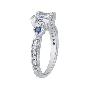 14K White Gold Princess Diamond Engagement Ring with Sapphire (Semi Mount)
