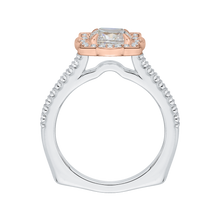 Load image into Gallery viewer, 14K Two Tone Gold Princess Cut Diamond Halo Vintage Engagement Ring (Semi Mount)