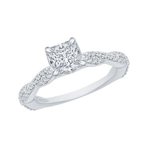 14K White Gold Princess Diamond Engagement Ring with Criss Cross Shank (Semi Mount)