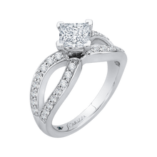 Load image into Gallery viewer, 14K White Gold Princess Diamond Engagement Ring with Split Shank (Semi Mount)