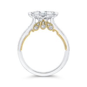 14K Two Tone Gold Marquise Diamond Engagement Ring (Semi Mount)