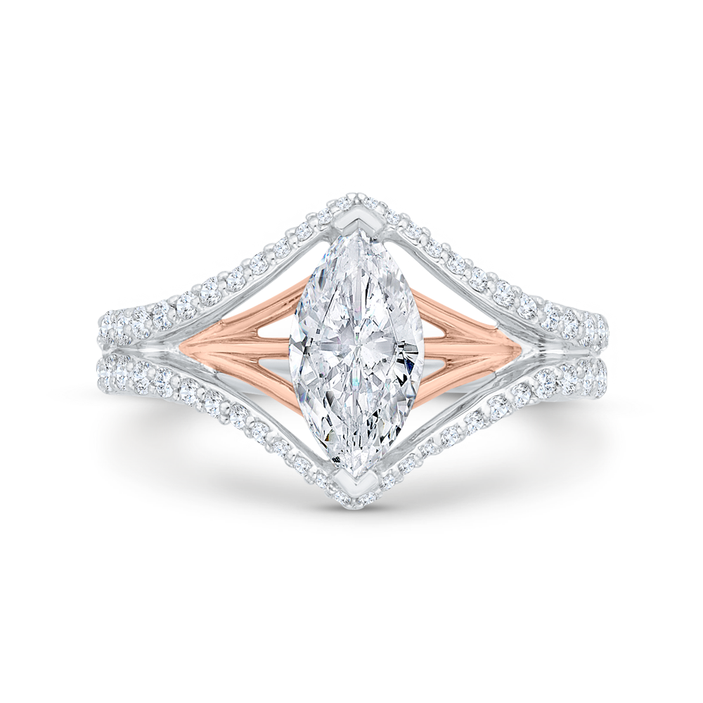 CAQ0526EH-37WP-1.50 Bridal Jewelry Carizza White Gold,Rose Gold Marquise Cut Diamond Engagement Rings