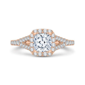 CAU0033E-37P Bridal Jewelry Carizza Rose Gold Cushion Cut Diamond Halo Engagement Rings