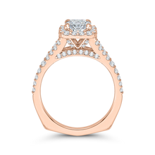 Load image into Gallery viewer, 14K Rose Gold Cushion Cut Diamond Halo Engagement Ring with Split Shank (Semi Mount)