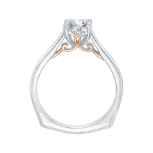 Load image into Gallery viewer, 14K Two Tone Gold Cushion Cut Diamond Solitaire Engagement Ring (Semi Mount)