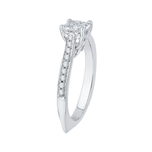 Load image into Gallery viewer, 14K White Gold Cushion Cut Diamond Solitaire with Accents Engagement Ring (Semi Mount)