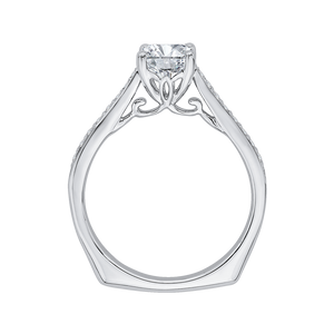 14K White Gold Cushion Cut Diamond Solitaire with Accents Engagement Ring (Semi Mount)