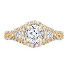 Load image into Gallery viewer, CAU0041E-37 Bridal Jewelry Carizza Yellow Gold Cushion Cut Diamond Halo Engagement Rings