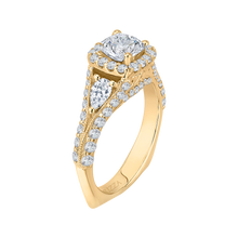 Load image into Gallery viewer, 14K Yellow Gold Cushion Diamond Halo Engagement Ring with Split Shank (Semi Mount)