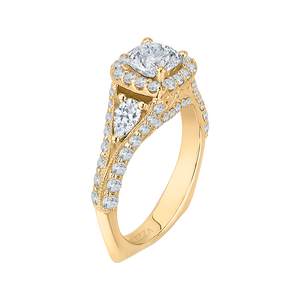14K Yellow Gold Cushion Diamond Halo Engagement Ring with Split Shank (Semi Mount)