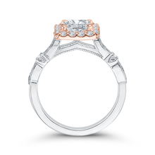 Load image into Gallery viewer, Cushion Diamond Halo Vintage Engagement Ring In 14K Two Tone Gold (Semi Mount)