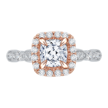 Load image into Gallery viewer, CAU0042E-37WP Bridal Jewelry Carizza White Gold Rose Gold Yellow Gold Vintage Cushion Cut Diamond Halo Engagement Rings