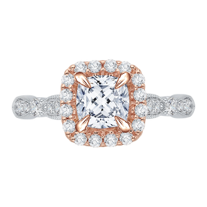CAU0042E-37WP Bridal Jewelry Carizza White Gold Rose Gold Yellow Gold Vintage Cushion Cut Diamond Halo Engagement Rings