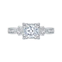 Load image into Gallery viewer, CAU0046E-37W Bridal Jewelry Carizza White Gold Vintage Cushion Cut Diamond Engagement Rings