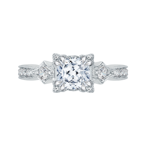 CAU0046E-37W Bridal Jewelry Carizza White Gold Vintage Cushion Cut Diamond Engagement Rings