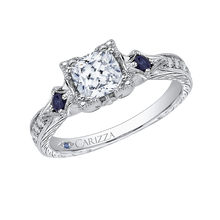 Load image into Gallery viewer, 14K White Gold Cushion Cut Diamond Engagement Ring with Sapphire (Semi Mount)