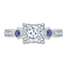 Load image into Gallery viewer, CAU0046E-S37W Bridal Jewelry Carizza White Gold Cushion Cut Diamond Engagement Rings