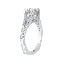 Load image into Gallery viewer, Split Shank Cushion Cut Diamond Engagement Ring In 14K White Gold (Semi Mount)