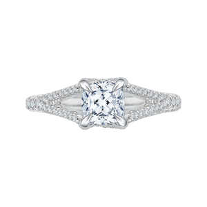 CAU0048E-37W Bridal Jewelry Carizza White Gold Cushion Cut Diamond Engagement Rings