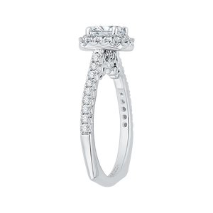 Cushion Cut Halo Diamond Engagement Ring In 14K White Gold (Semi Mount)