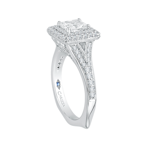 14K White Gold Cushion Diamond Double Halo Engagement Ring with Split Shank (Semi Mount)