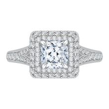 Load image into Gallery viewer, CAU0062E-37W Bridal Jewelry Carizza White Gold Cushion Cut Diamond Double Halo Engagement Rings