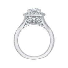 Load image into Gallery viewer, Cushion Cut Diamond Halo Engagement Ring with Split Shank In 14K White Gold (Semi Mount)