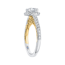 Load image into Gallery viewer, 14K Two Tone Gold Cushion Diamond Halo Engagement Ring (Semi Mount)