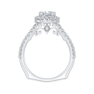 14K White Gold Cushion Halo Diamond Engagement Ring (Semi Mount)