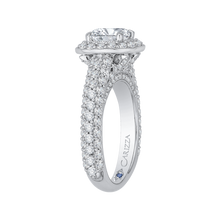Load image into Gallery viewer, 14K White Gold Cushion Diamond Halo Cathedral Style Engagement Ring (Semi Mount)