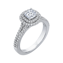 Load image into Gallery viewer, Cushion Diamond Double Halo Cathedral Style Engagement Ring In 14K White Gold (Semi Mount)