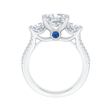 Load image into Gallery viewer, Cushion Cut Diamond with Sapphire Three Stone Cathedral Style Engagement Ring In 14K White Gold (Semi Mount)