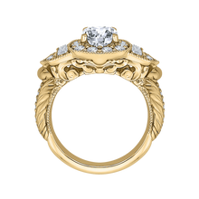 Load image into Gallery viewer, 14K Yellow Gold Cushion Diamond Halo Vintage Engagement Ring (Semi Mount)