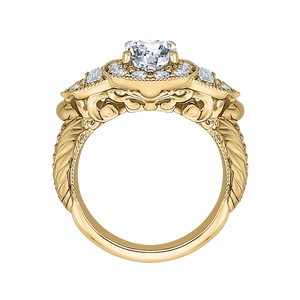14K Yellow Gold Cushion Diamond Halo Vintage Engagement Ring (Semi Mount)