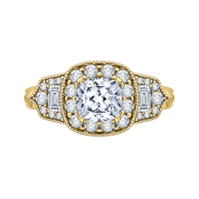 Load image into Gallery viewer, CAU0216E-37-1.50 Bridal Jewelry Carizza Yellow Gold Vintage Cushion Cut Diamond Halo Engagement Rings
