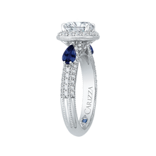 Load image into Gallery viewer, 14K White Gold Cushion Cut Diamond Halo Engagement Ring with Sapphire (Semi Mount)