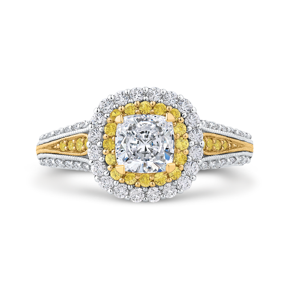 CAU0236EHY-37WY-1.0 Bridal Jewelry Carizza White Gold Rose Gold Yellow Gold Cushion Cut Diamond Double Halo Engagement Rings