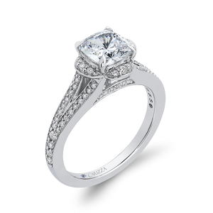 Cushion Diamond Cathedral Style Engagement Ring In 14K White Gold (Semi Mount)